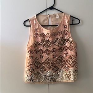Forever 21 Pink Sequin Short Sleeve Top